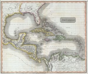 Map of the Caribbean region in the early 19th century