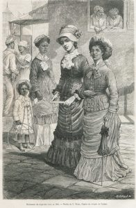Two elegant women walking on a street of the capital of Haiti: Port-au-Prince. Other characters appear in the backgroud, some are chatting, others are looking at the two women