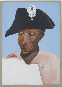 Teaching resources Atlantic World and African Diaspora history. Portrait of a man wearing a black bicorn hat with a feather and a pink jacket