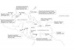 Map of the Caribbean showing the short-lived revolutions and countries studied in the book: Rogue Revolutionaries: The Fight for Legitimacy in the Greater Caribbean