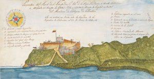 Fuerte de la Libertad, Providencia, controlado por los revolucionarios Louis-Michel Aury y Sévère Courtois 1819-1822 analizados en el libro del autor Vanessa Mongey: Rogue Revolutionaries. Bandera colombiana en el fuerte